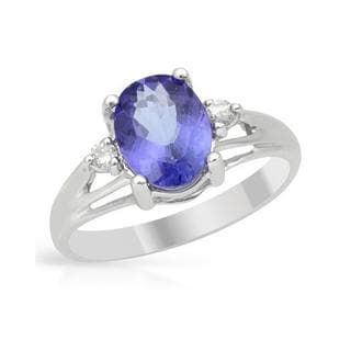 Celine F Ring with 1.65ct TW Diamonds and Tanzanite in 14K White Gold