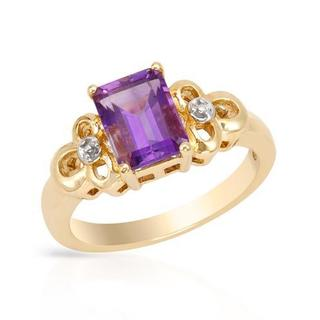 Ring with 1.6ct TW Amethyst of Yellow Gold