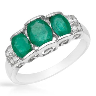Ring with 1.81ct TW Genuine Diamonds and Emeralds of 925 Sterling Silver