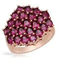 Ring with 4.88ct TW Rhodolite Garnets in 14K/925 Gold-plated Silver