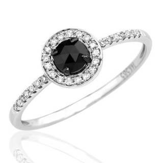 Vida 14k White Gold Black Diamond Halo Engagement Ring