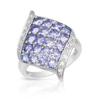 Ring with 2.52ct TW Diamonds and Tanzanites in White Gold