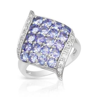 Ring with 2.52ct TW Genuine Diamonds and Tanzanites in White Gold