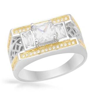 Men's 18K Gold over Silver 2.7ct TW Cubic Zirconia Ring