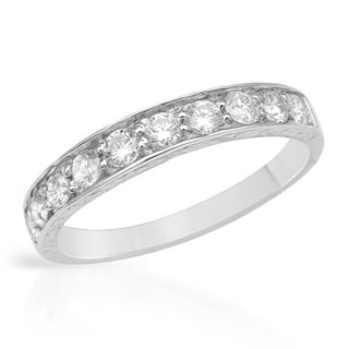 Channel Ring with 0.60ct TW Genuine Diamonds 14K White Gold