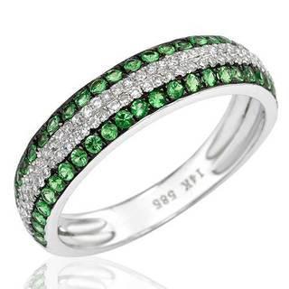 Vida Ring with 0.65ct TW Diamonds and Tsavorite Garnets in 14K White Gold