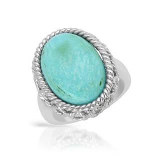 Cocktail Ring with Created Turquoise 925 Sterling Silver