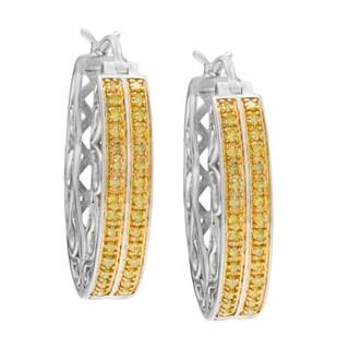 Hoops Earrings with 0 1/2ct TW Fancy Intense Yellow enhanced Diamonds in 925 Sterling Silver