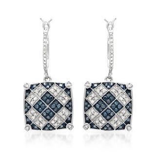 Earrings with 1ct TW Fancy Intense Blue enhanced Diamonds in .925 Sterling Silver