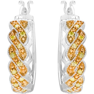 .925 Sterling Silver Hoops Earrings with Yellow Enhanced Diamonds