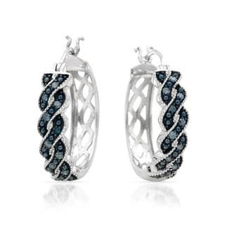 Hoops Earrings with Blue Enhanced Diamonds in .925 Sterling Silver