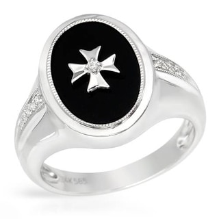 Ring with Diamonds/ Onyx 14K White Gold