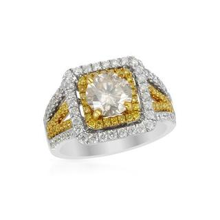 18K White Gold and 22K Yellow Gold 2 1/4ct TW Fancy Yellow Enhanced Diamond Ring