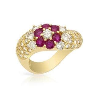 18k Gold 2 2/5ct Ruby and Diamond Floral Motif Ring