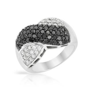 14K White Gold Fashion Criss-cross Ring 2.30ct TDW Enhanced Black and White Diamonds size 7