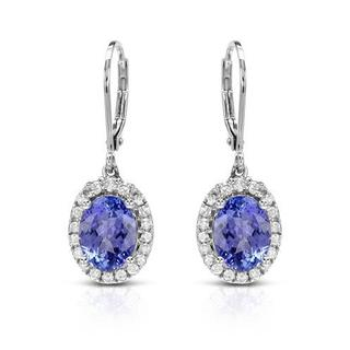 CELINE F Earrings with 4.25ct TW Diamonds and Tanzanites of 14K White Gold
