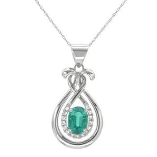 Celine F Necklace with 1.23ct TW Diamonds and Lab Grown Emerald of 14K White Gold