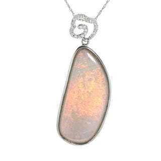 Celine F Necklace with 14.99ct TW Diamonds and Opal of 14K White Gold