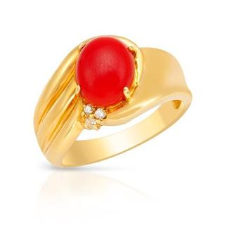18k Gold Coral and Diamond Accent Ring