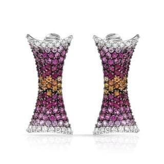 STEFAN HAFNER Earrings with 6.42ct TW Genuine Diamonds, Rubies and Sapphires Crafted in 18K Wh