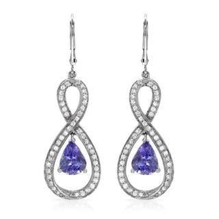 Celine F 14k White Gold 7/8ct TDW Diamonds and Tanzanites Earrings