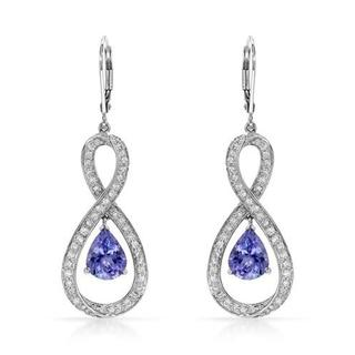 Celine F Earrings with 4.52ct TW Diamonds and Tanzanites in 14K White Gold