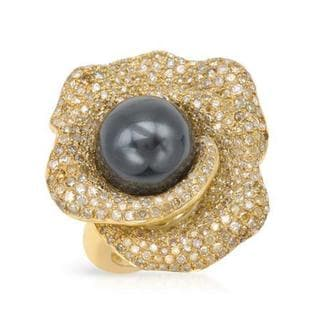 Ring with 4.1ct TW Natural Fancy Yellow Diamonds and Faux pearl in 14K/925 Gold-plated Silver