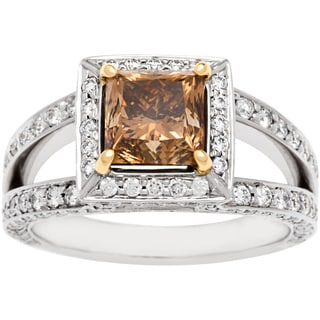 18k Two-tone Gold 3.18ct TDW Brown and White Diamond Engagement Ring