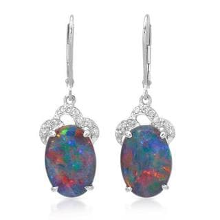 Celine F Earrings with 7.06ct TW Diamonds and Opal triplets in 14K White Gold