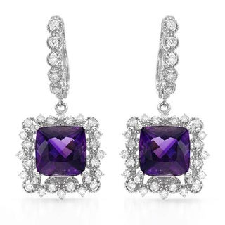 Earrings with 10.9ct TW Amethysts and Diamonds in 14K White Gold