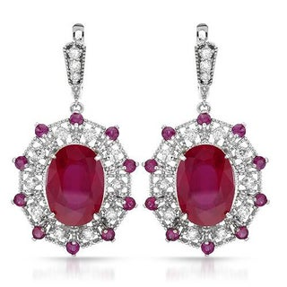 14K White Gold 28.1ct TW Diamond and Ruby Earrings