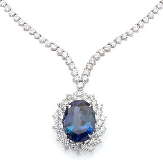 Necklace with 21.10ct TW Genuine Diamonds and Tanzanite in 18K White Gold