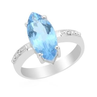 Diamonds/ Light Blue Topaz Sterling Silver Ring