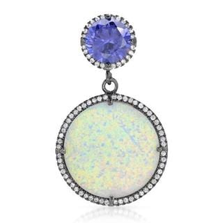 Pendant with Cubic Zirconia/ Created Opal .925 Sterling Silver