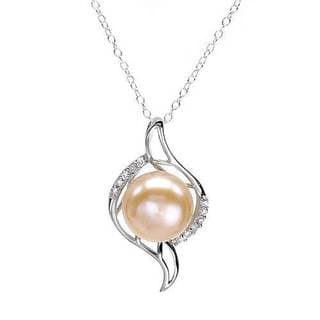 Necklace with Cubic Zirconia/ 120mmFreshwater Pearl .925 Sterling Silver