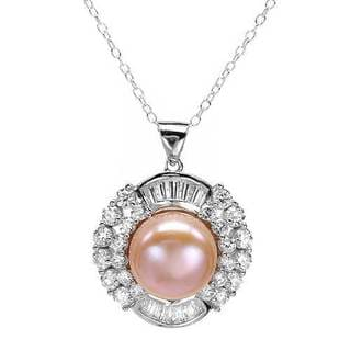 Necklace with 5.75ct TW Cubic Zirconia and 12.0mm Freshwater Pearl in 925 Sterling Silver