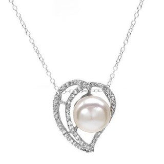 Heart Necklace with 1.65ct TW CZ and 11mm Freshwater Pearl Crafted in .925 Sterling Sil