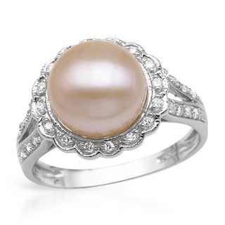 Ring with 0.6ct TW Cubic Zirconia and 10mm Freshwater Pearl in .925 Sterling Silver