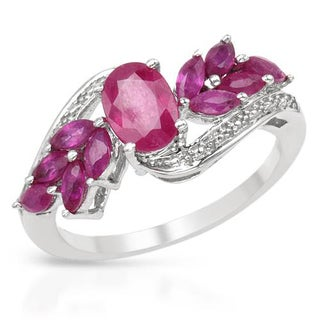 Sterling Silver 2.3ct TGW Composite Ruby Ring