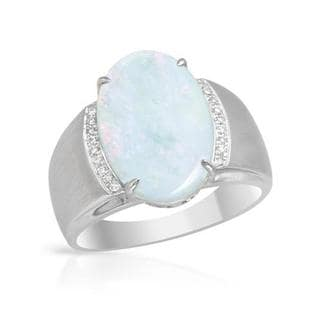 Celine F Ring with 3.61ct TW Diamonds and Opal 14K White Gold