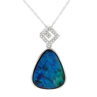 Celine F Necklace with 4.35ct TW Diamonds and Opal in 14K White Gold