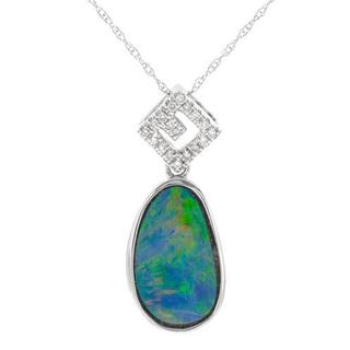 Celine F Necklace with 2.46ct TW Diamonds and Opal Crafted in 14K White Gold