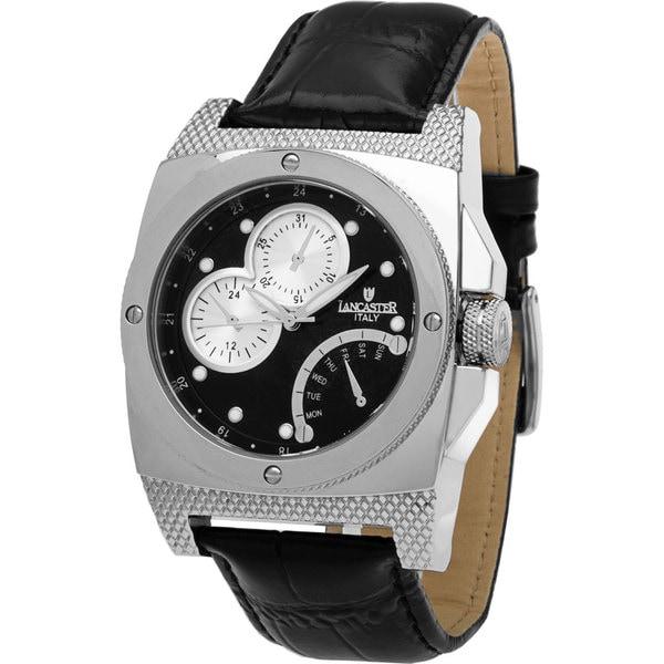 Men's OLA0344BK Black Leather Watch