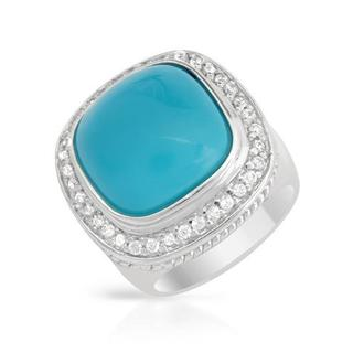 Cocktail Ring with Cubic Zirconia/ Turquoises .925 Sterling Silver