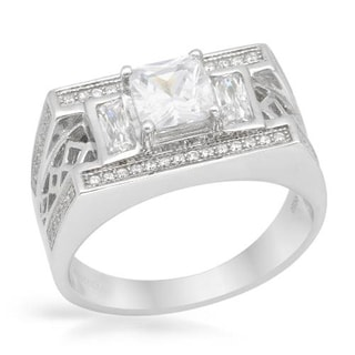 Men's Ring with 2.7ct TW Cubic Zirconia in Platinum coated Sterling Silver