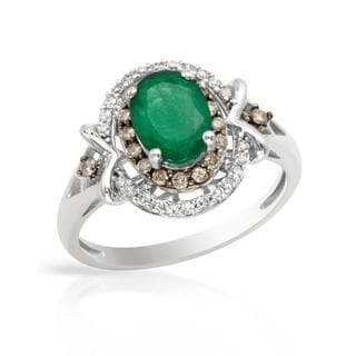Cocktail Ring with 1.35ct TW Genuine Diamonds and Emerald 14K White Gold