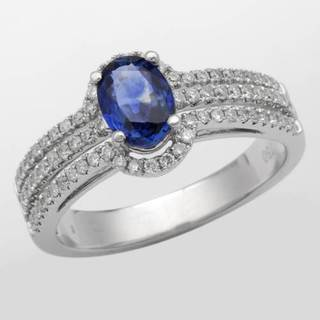 Ring with 1 1/2ct TW Diamonds and Sapphire in 18K White Gold