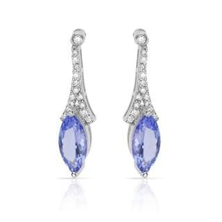 Celine F Earrings with 3.05ct TW Diamonds and Tanzanites Crafted in 14K White Gold