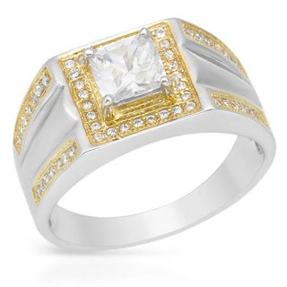 18k Gold-plated Silver 2.45ct TGW CZ Men's Ring