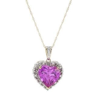 Heart Necklace with 4.18ct TW Diamonds and Topaz Yellow Gold